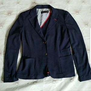 Zara Large Navy Red Trim Blazer Jacket